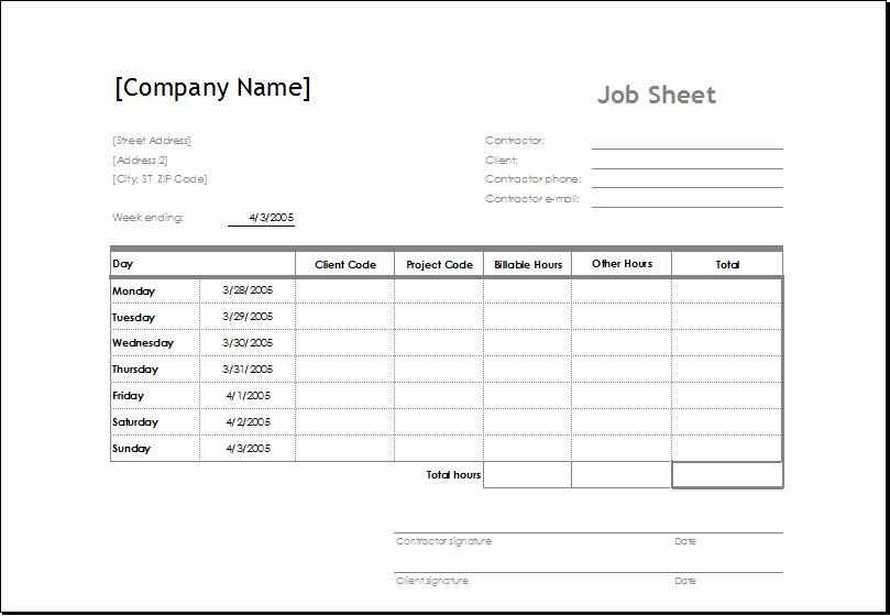 Job Cost Sheet Template Beautiful Sample Job Sheet Template for Ms Excel