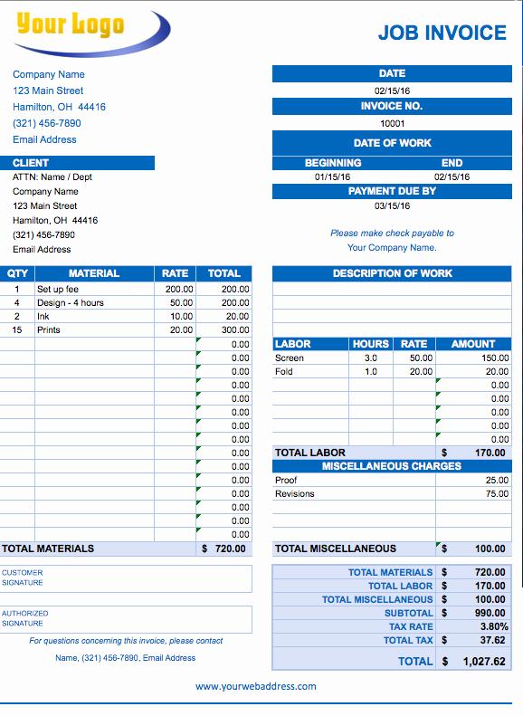 Job Cost Sheet Template Excel Fresh Free Excel Invoice Templates Smartsheet