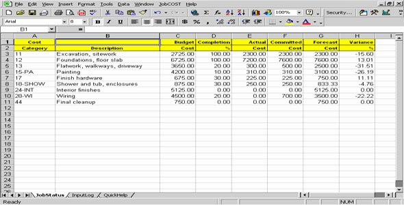 Job Cost Sheet Template Lovely Job Cost Controller Spreadsheet for Excel