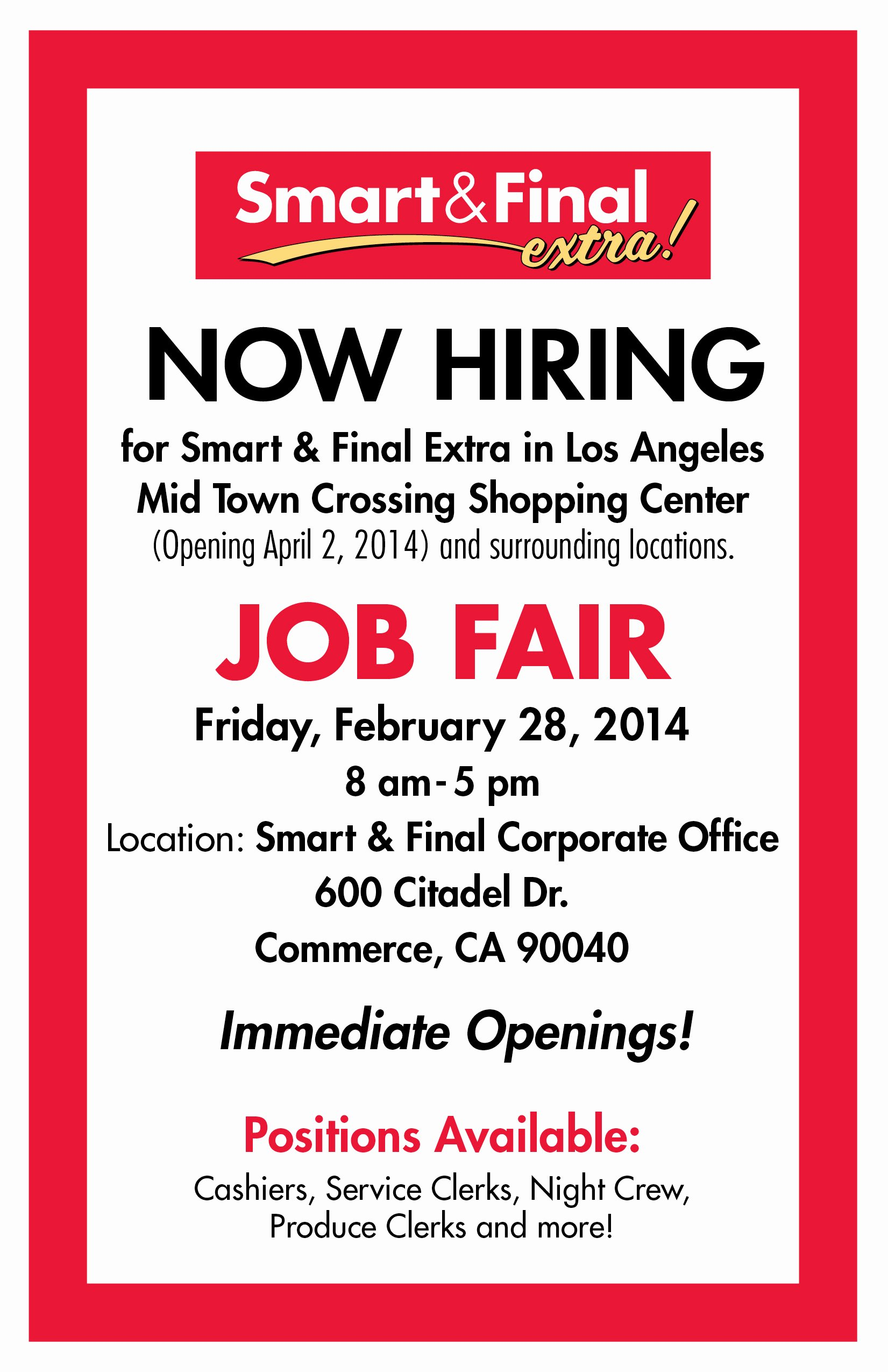 Job Flyer Template Word Beautiful Smart & Final Mid town Crossing – now Hiring – Job Fair