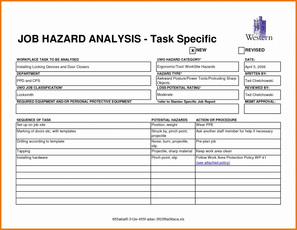 Job Hazard Analysis Template Excel Beautiful Job Hazard Analysis form