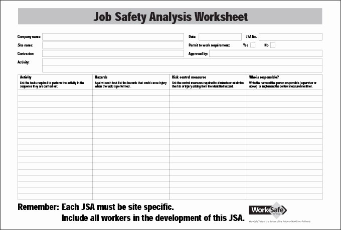 Job Hazard Analysis Template Excel Elegant Job Safety Analysis Template 6 Free Word Pdf Documents