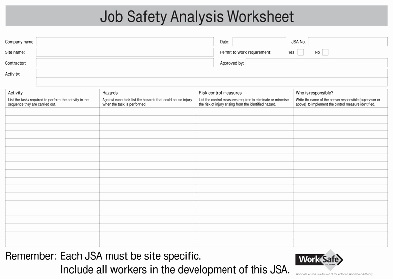 Job Hazard Analysis Template Excel Lovely Job Safety Analysis Templates 4 Free forms for Word and Pdf