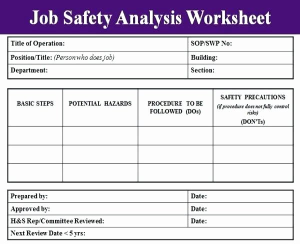 Job Hazard Analysis Template Excel Unique Job Safety Analysis Template