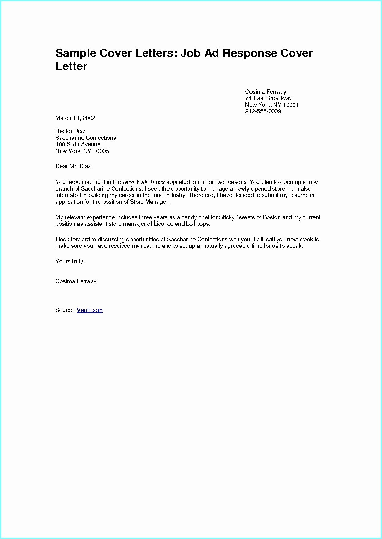 Job Posting Examples Fresh Sample Cover Letter Responding to Line Job Posting