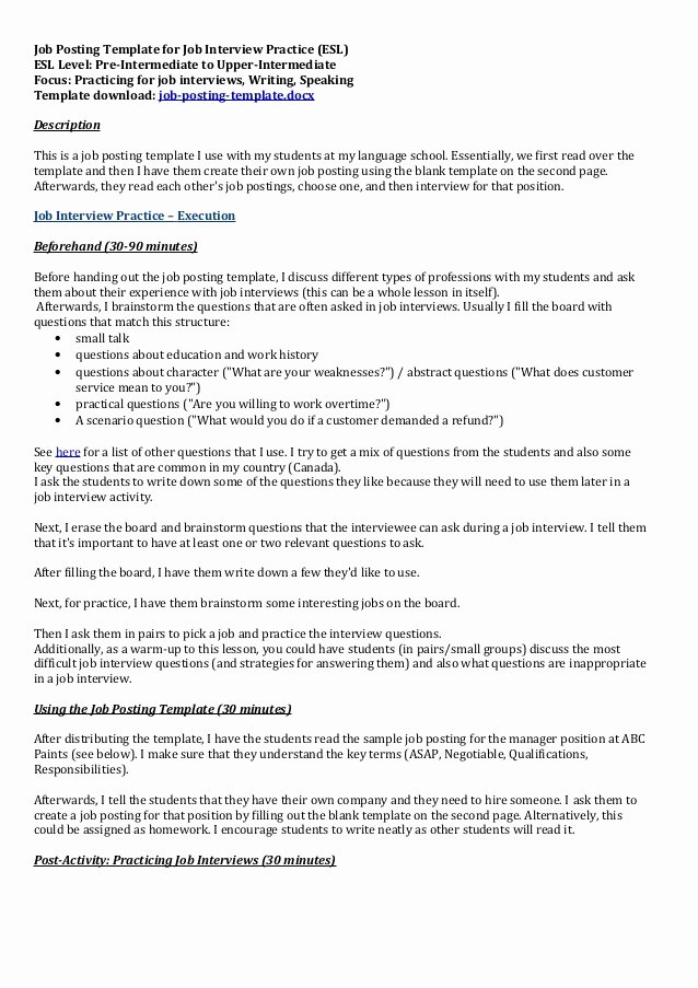 Job Posting Examples Lovely Job Posting Template for Job Interview Practice