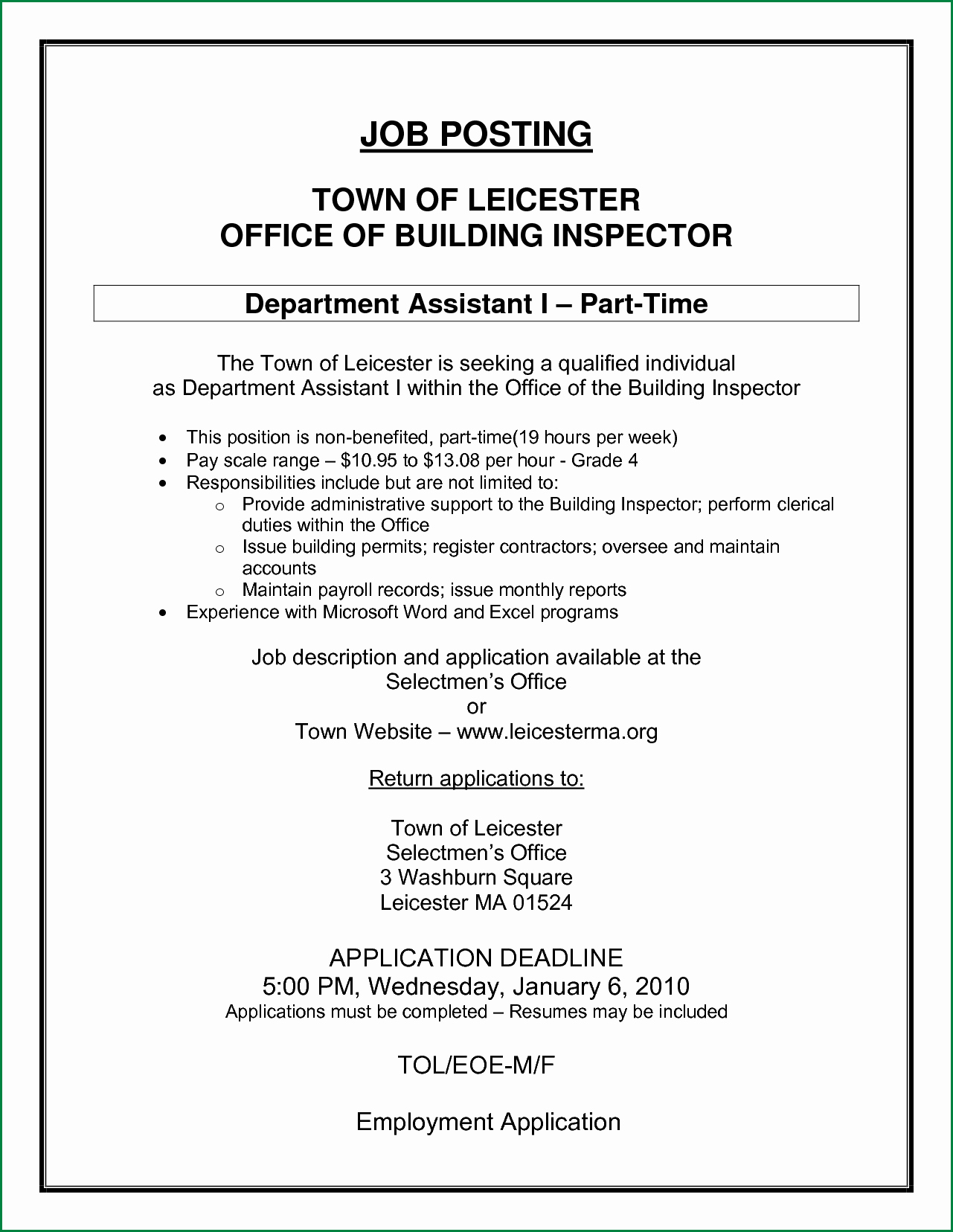 Job Posting Examples New Sample Application Letter for Internal Job Vacancy