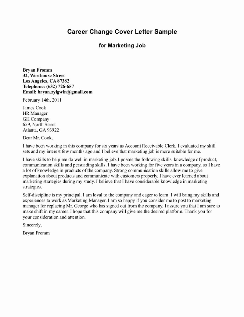 Job Transition Email Template Awesome 10 Sample Of Career Change Cover Letter
