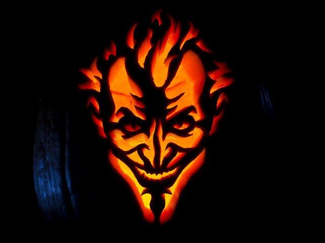 Joker Pumpkin Stencils Elegant Creepy Batman Arkham asylum Joker Jack O Lantern [pic