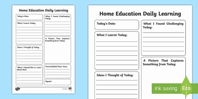 Journal Writing Template Luxury Home Education Daily Learning Journal Writing Template