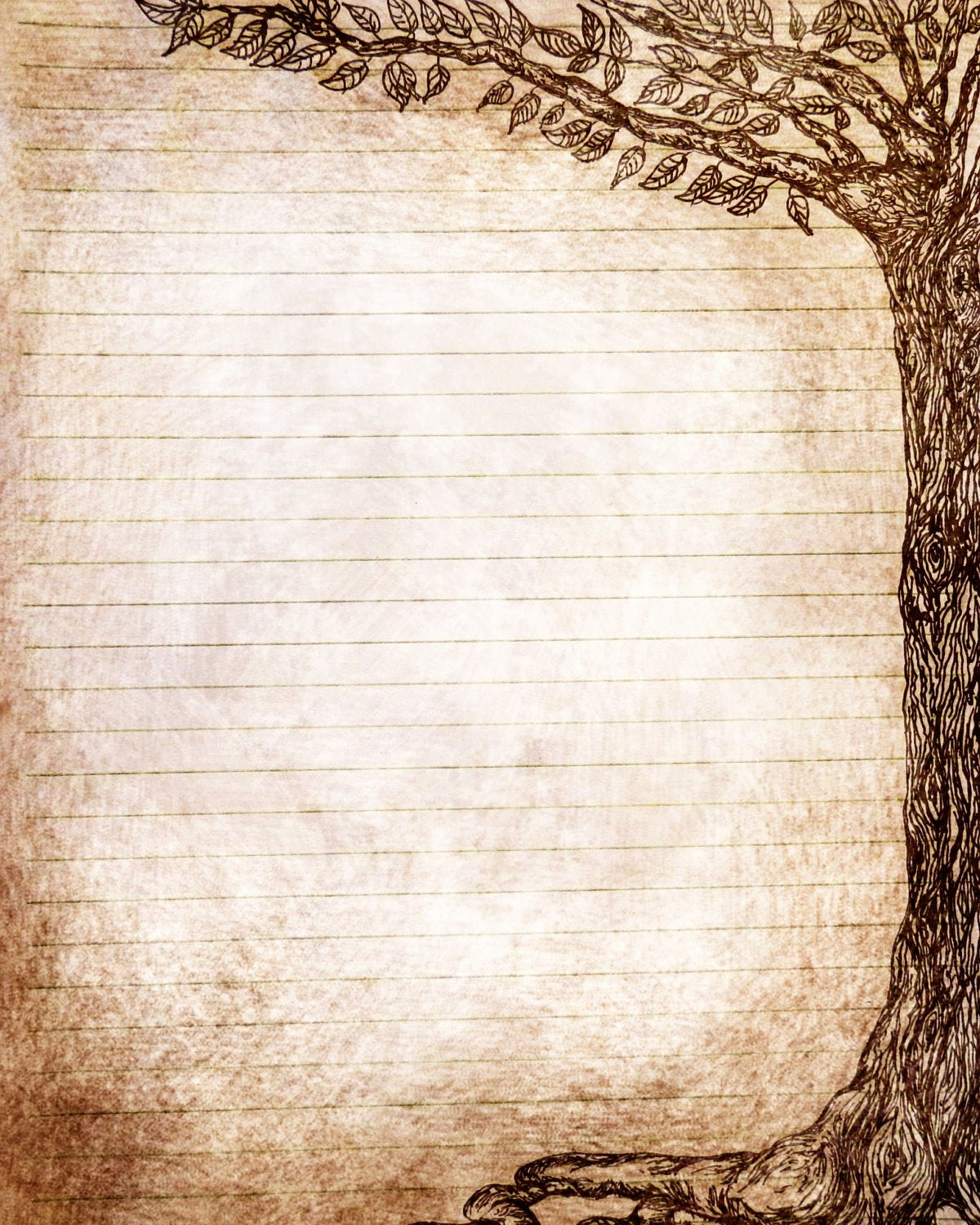 Journal Writing Template Luxury Printable Journal Pagetree Pen and Ink Drawing Instant