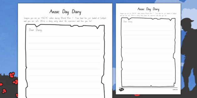 Journal Writing Template New Anzac Day Diary Writing Template Writing Diary Anzac