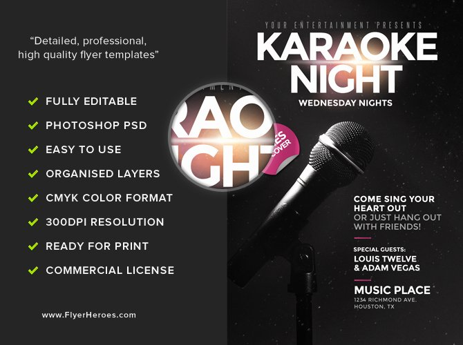 Karaoke Night Flyer Awesome Karaoke Night Flyer Template Flyerheroes