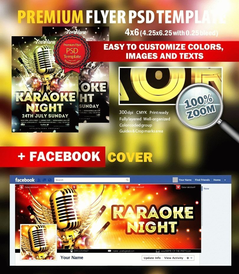 Karaoke Night Flyer Awesome Karaoke Night Psd Flyer Template 8852 Styleflyers