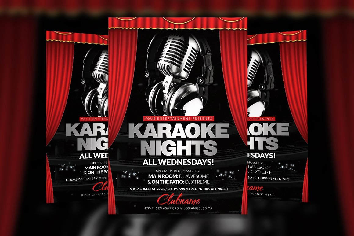 Karaoke Night Flyer Beautiful Karaoke Nights Flyer Template Flyer Templates Creative