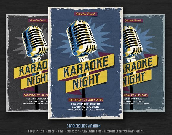 Karaoke Night Flyer Lovely Karaoke Night Flyer Templates On Creative Market