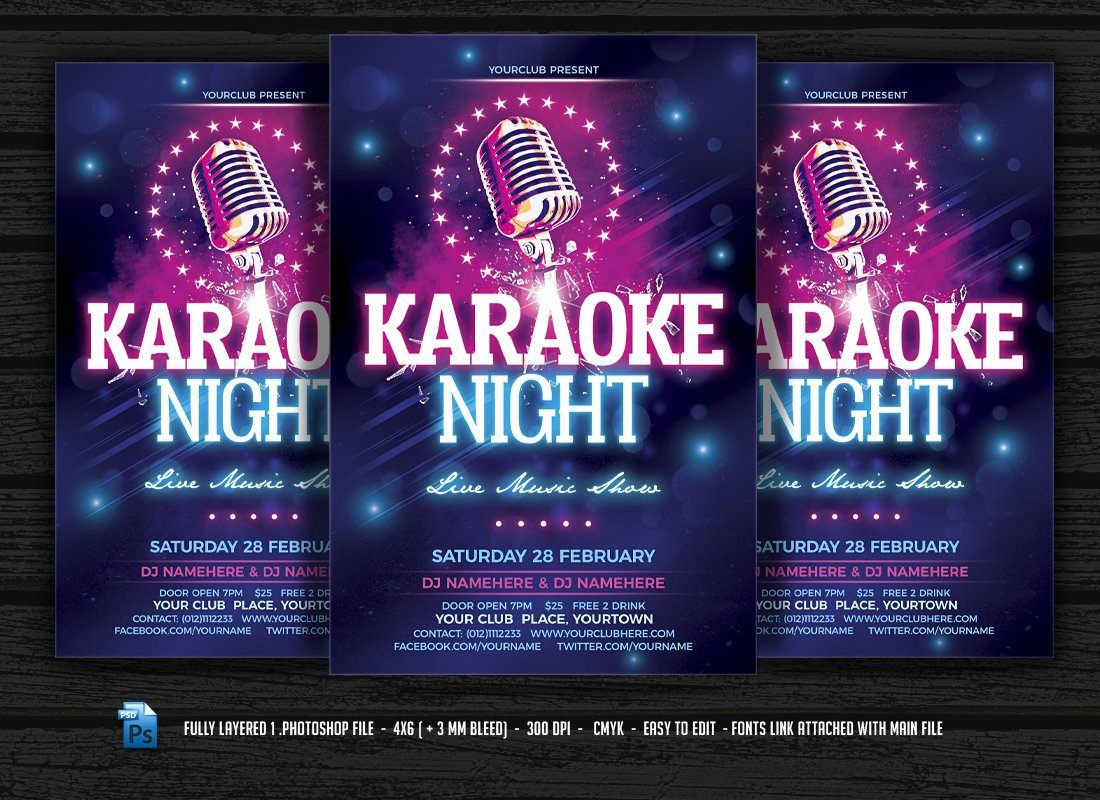 Karaoke Night Flyer Unique Karaoke Night Flyer Templates Creative Market