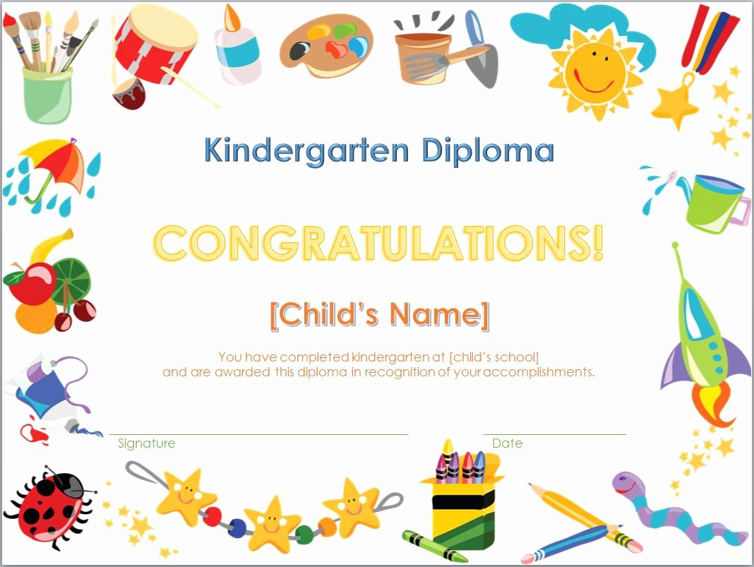 Kindergarten Graduation Program Template Free Inspirational Kindergarten Diploma Template