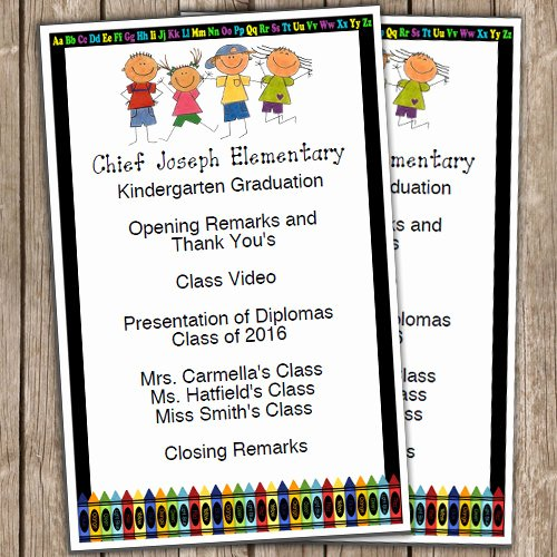Kindergarten Graduation Program Template Free Luxury Kindergarten Graduation Half Sheet Blank Editable Program