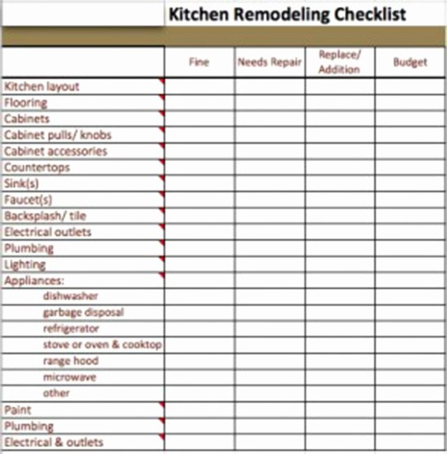 Kitchen Remodel Checklist Excel New Kitchen Remodel Checklist Excel Bud