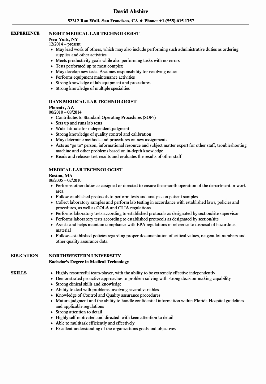 Laboratory Technician Resume Sample Best Of Medical Lab Technologist Resume Samples