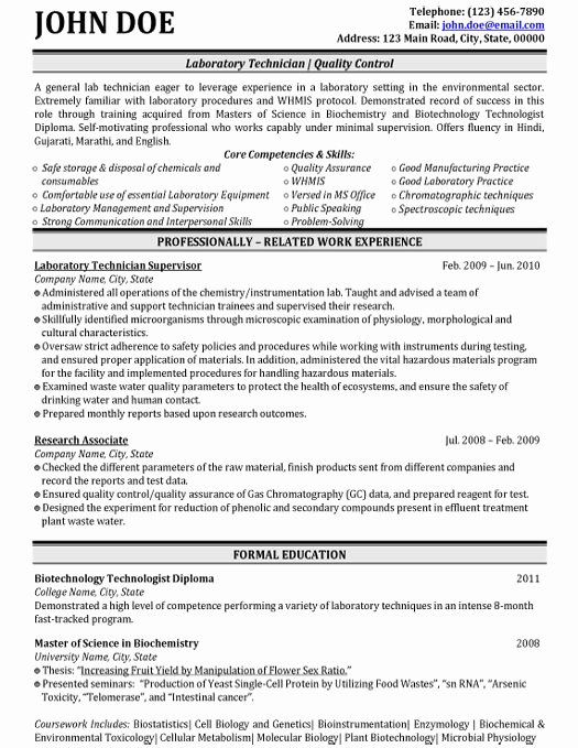 Laboratory Technician Resume Sample Elegant top Biotechnology Resume Templates & Samples