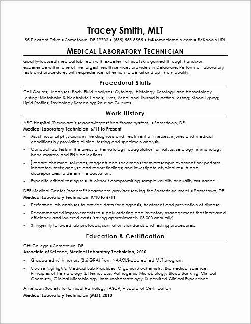 Laboratory Technician Resume Sample Lovely Entry Level Lab Technician Resume Sample