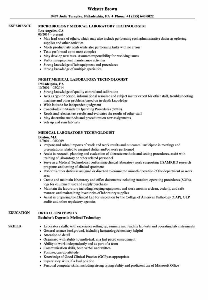 Laboratory Technician Resume Sample New Resume and Template 63 Medical Laboratory Technologist
