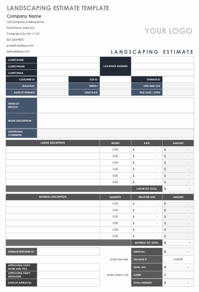 Landscaping Estimate Sample Unique Free Estimate Templates