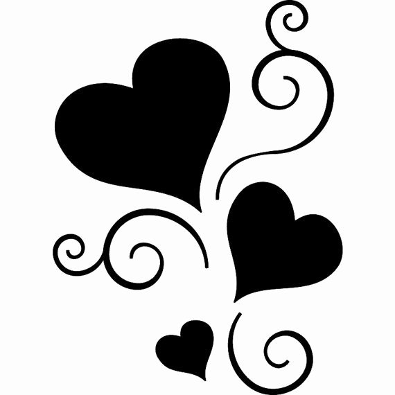 Large Heart Stencil Printable Best Of Scroll Hearts Sticker Tattoo Vinyl Decal by Seeyou276 On