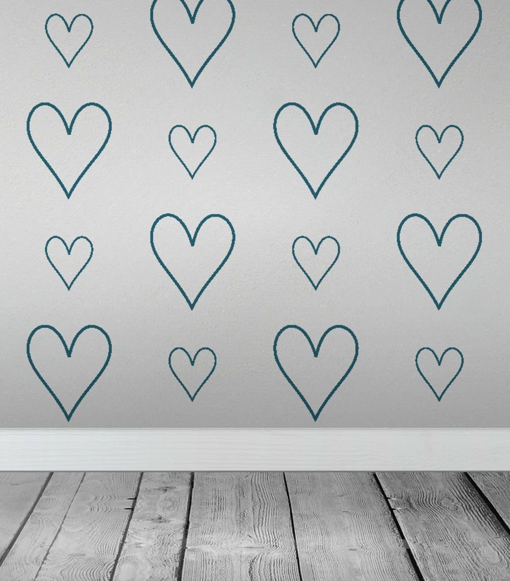 Large Heart Stencil Printable Inspirational and Small Heart Lines Wall Stencil
