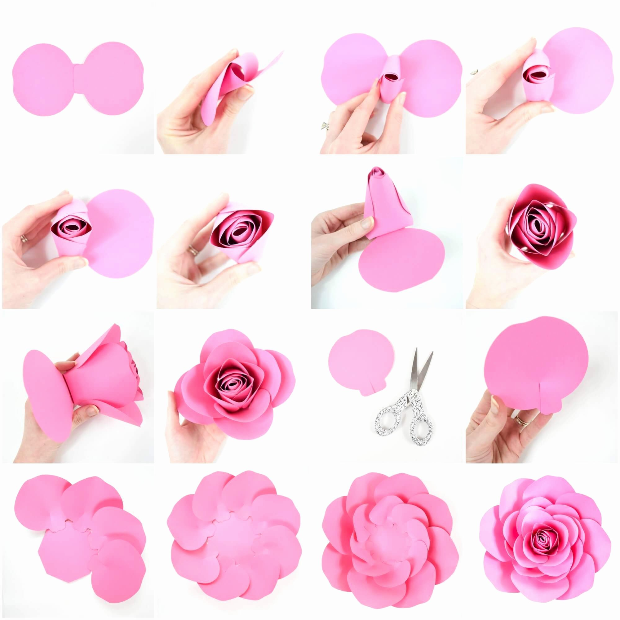Large Rose Paper Flower Template Elegant Free Paper Rose Template Diy Camellia Rose Tutorial