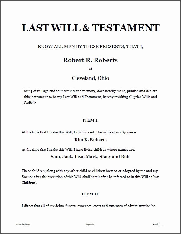 Last Will and Testament Template Microsoft Word Awesome Printable Sample Last Will and Testament Template form