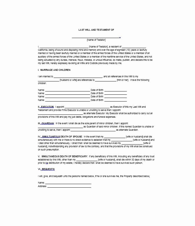 Last Will and Testament Template Microsoft Word Fresh 39 Last Will and Testament forms & Templates Template Lab