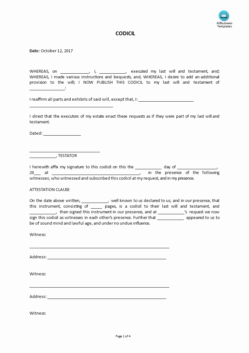 Last Will and Testament Template Microsoft Word Inspirational Real Estate Codicil