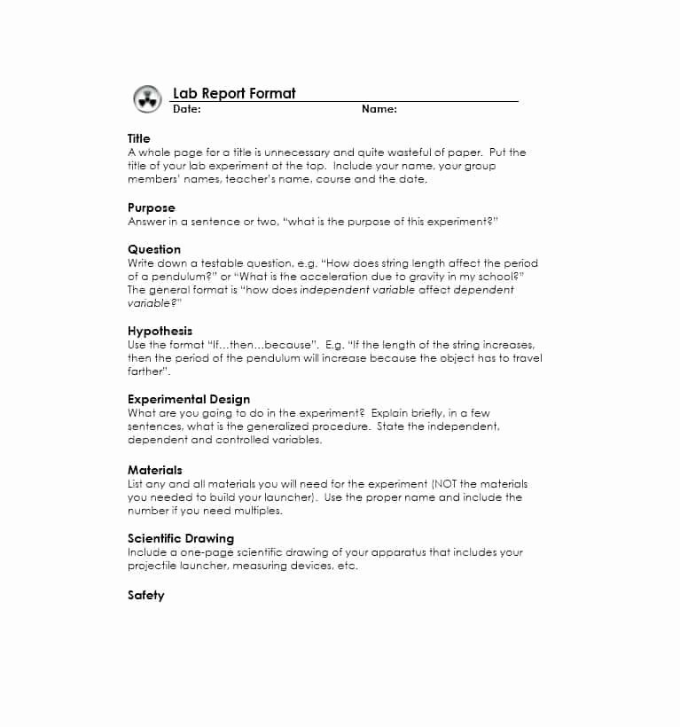 Latex Lab Report Template Awesome Lab Report format