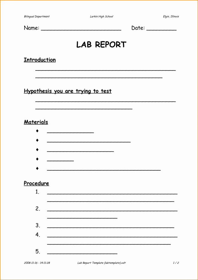 Latex Lab Report Template Awesome Lab Report Template