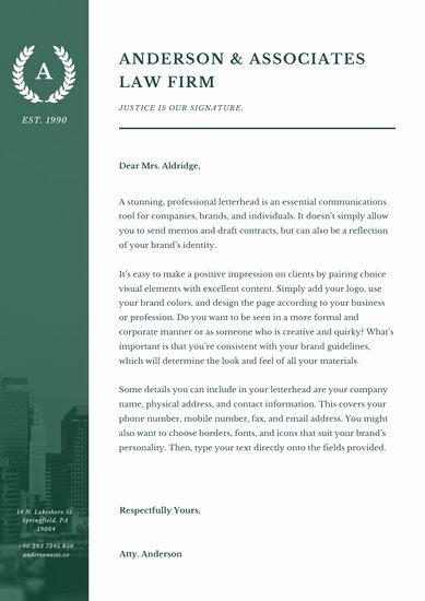 Law Firm Letterhead Template Best Of Customize 30 Law Firm Letterhead Templates Online Canva