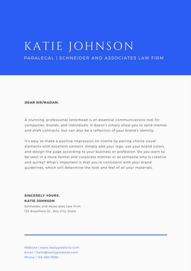 Law Firm Letterhead Templates Best Of Blue & F White Corporate formal Law Firm Letterhead