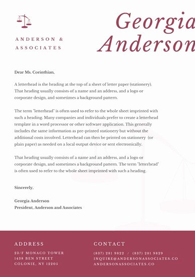 Law Firm Letterhead Templates Best Of Maroon Simple Elegant Law Firm Letterhead Templates by Canva