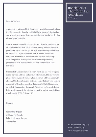 Law Firm Letterhead Templates Luxury Customize 37 Law Firm Letterhead Templates Online Canva