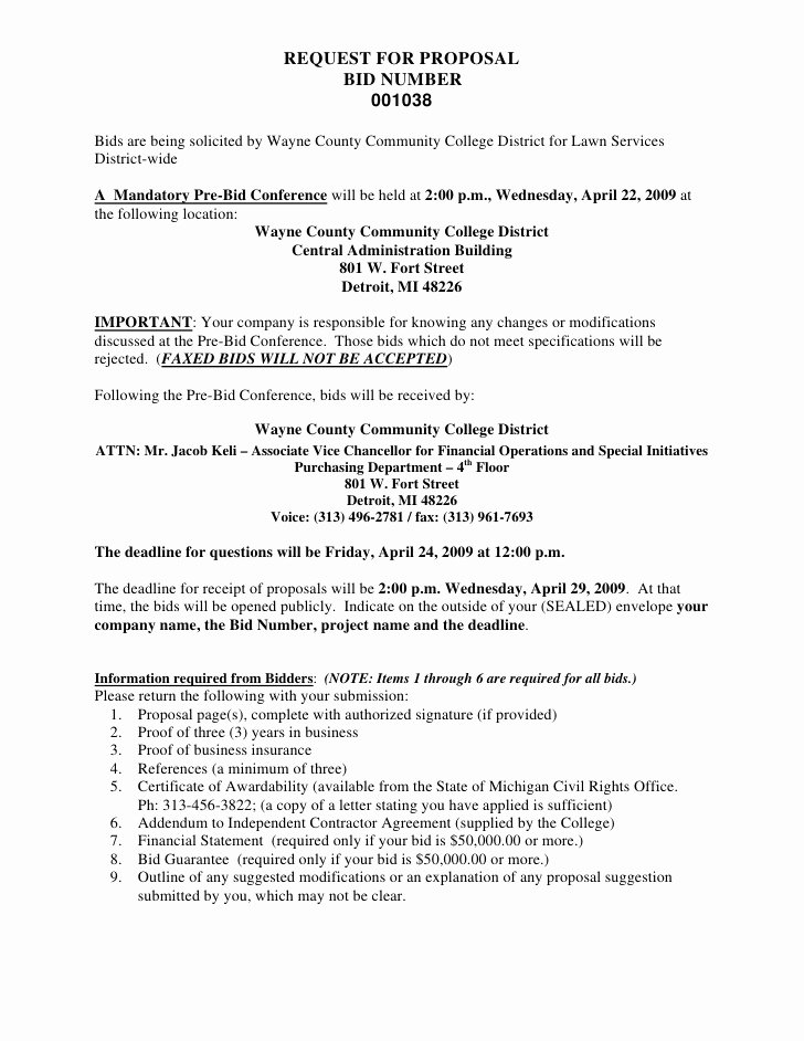 Lawn Care Bid Proposal Template Best Of Request for Proposal Bid Number