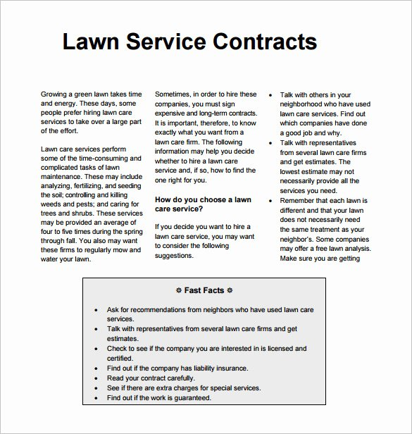 Lawn Care Bid Proposal Template Elegant Lawn Mowing Contract Template Templates Resume
