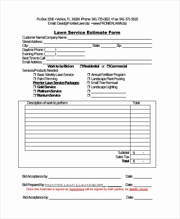Lawn Care Bid Proposal Template Elegant Sample Service Estimate Template 7 Free Documents
