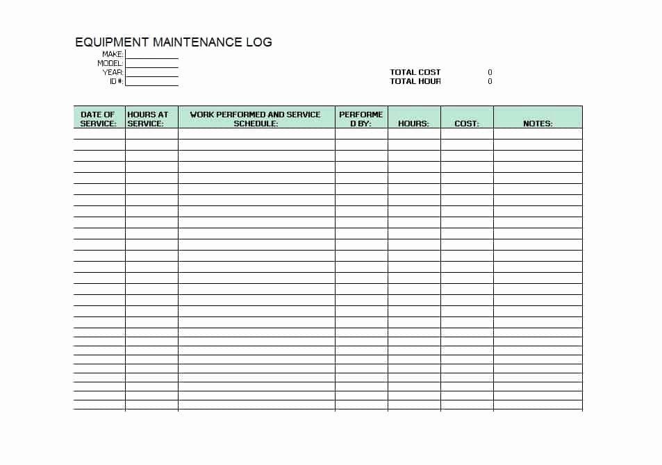 Lawn Mower Maintenance Log Template Beautiful 40 Equipment Maintenance Log Templates Template Archive