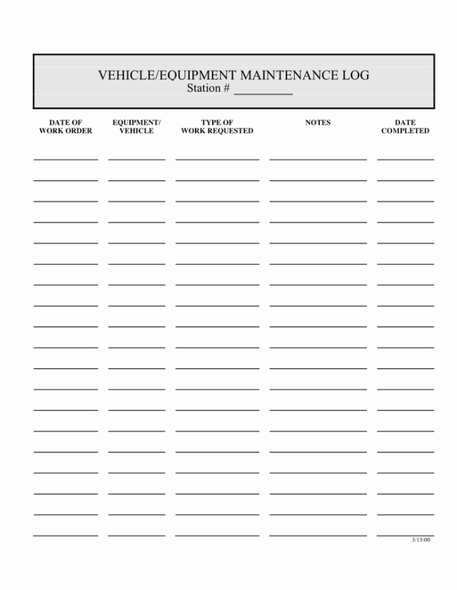 Lawn Mower Maintenance Log Template Elegant 5 Equipment Maintenance Log Templates – Word Templates