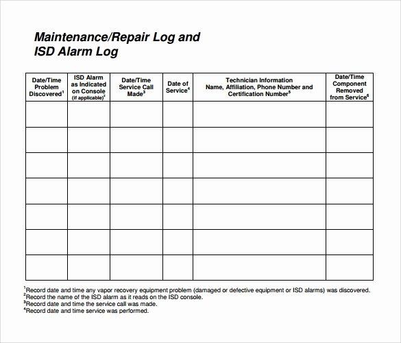 Lawn Mower Maintenance Log Template Inspirational 10 Repair Log Templates to Download