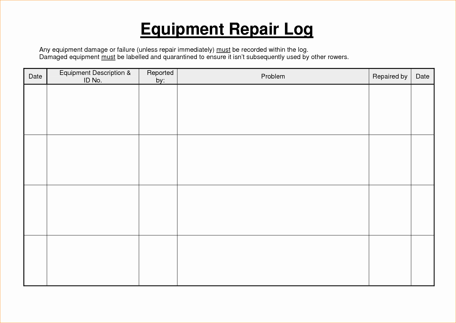 Lawn Mower Maintenance Log Template New 6 Maintenance Log Template