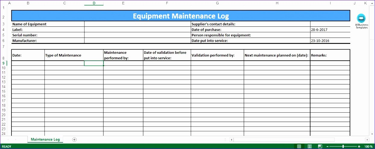 Lawn Mower Maintenance Log Template New 6 Preventive Maintenance Template Excel Exceltemplates