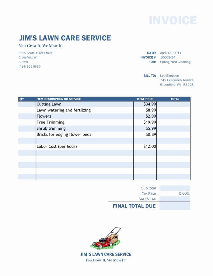 Lawn Mowing Schedule Template Awesome Lawn Mowing Contract Template Templates Resume